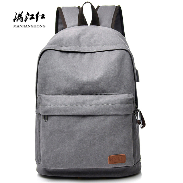 Fashion Canvas Men Backpack Travel Bags Anti-theft Women Laptop Backpack USB Charging Casual School Backpack For Teenager 1426