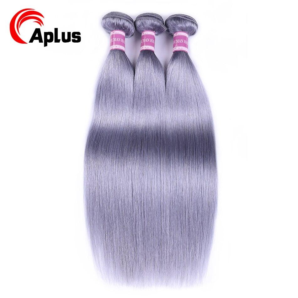 Aplus Pre-Colored Peruvian Straight Human Hair Weave Bundles Grey Color Ombre Bundles Deal 3Pcs/Lot Non Remy Hair Extensions