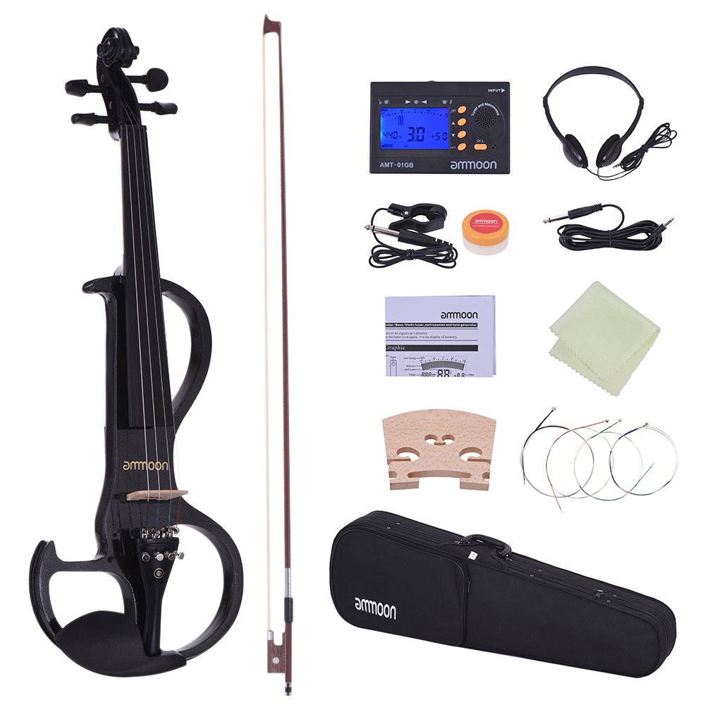 ammoon Full Size 4 4 Solid Wood Electric Silent Violin Fiddle Style 3 Ebony Fingerboard Pegs