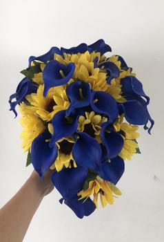 Cascading Sunflower Bridal Bouquet, Sunflower Calla Lily Bouquet, Royal Blue Bouquet, Sunflower Bouquet, Blue Calla Lily фото