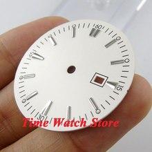 34.8mm biała tarcza sterylna super luminous srebrne znaki zegarek wybierania dla MIYOTA 8215 821A Mingzhu 2813 4813 ruch D39