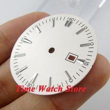 34.8mm לבן sterial חיוג סופר זוהר סימני כסף שעון חיוג עבור MIYOTA 8215 821A Mingzhu 2813 4813 תנועה D39