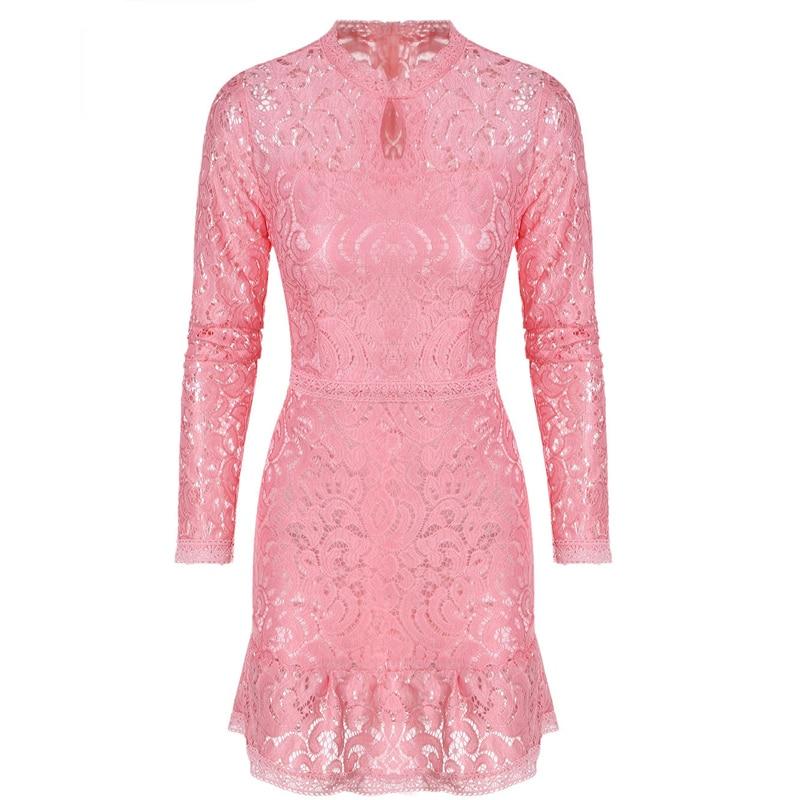 Vestidos Women Fashion Casual Lace Dress 2017 O Neck Sleeve Pink ...