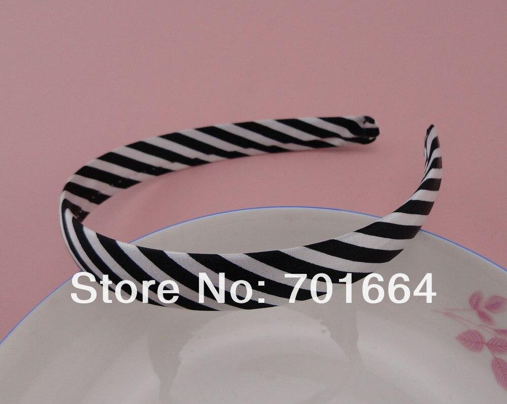 5 шт. 16 мм черно-белая полосатая атласная ткань с принтом покрытые простые пластиковые повязки для волос, женские модные повязки для волос для девочек
