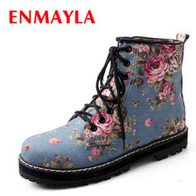 ENMAYLA Fashion Spring Blue Flats Print Floral Denim Shoes Women Lace-up Ankle Boots British Style Vintage Flower