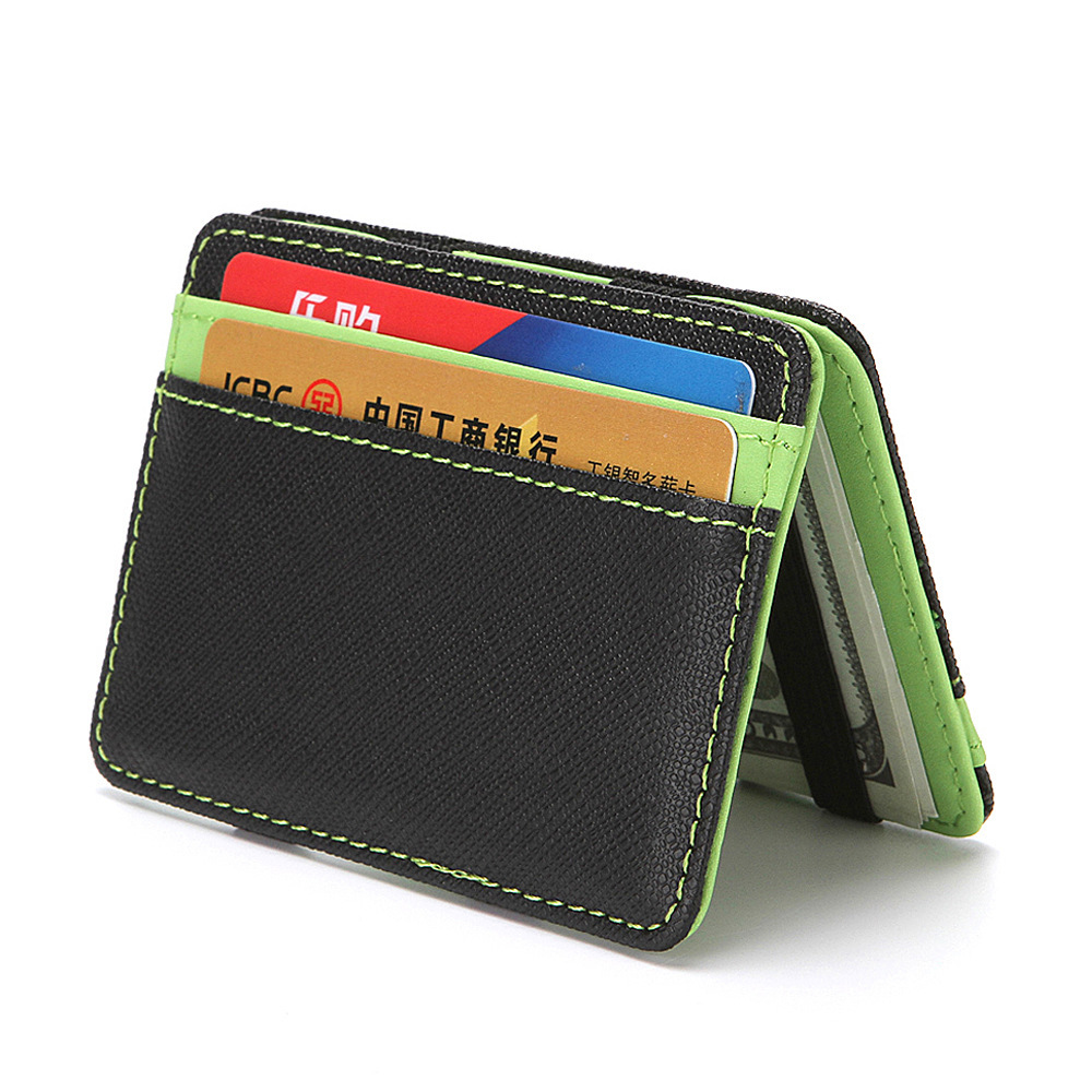 Men Women Cute Mini Magic Wallet PU Leather Bifold Short Casual Fashion Wallets And Purse Credit Bank Plastic Card Case Holder cartoon anime league legends wallets creative gift purse students boy girls leather bags men women fashion casual short wallet