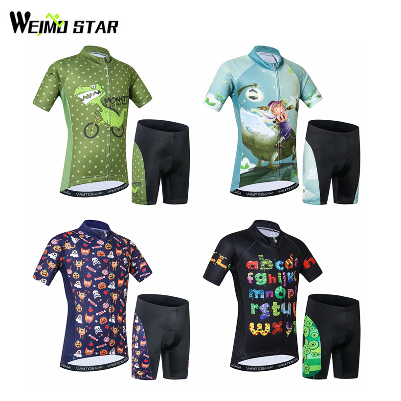 Weimostar Child Children Cycling Clothing Boys Girls Cycling Bike Jersey Shorts Set Team Bicycle ciclismo Kids