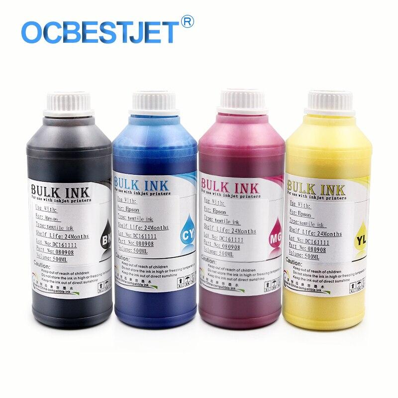500ML 4 Bottles Digital Textile Ink For Epson R1800 R1900 R2000 R3000 F2000 1390 1400 1410 1430 Printer Dtg Ink (BK+C+M+Y) 500ml 5bottles set led uv ink for epson 1390 1400 1410 1430 1500w r280 r290 r330 l800 l1800 uv printer ink bk c m y white