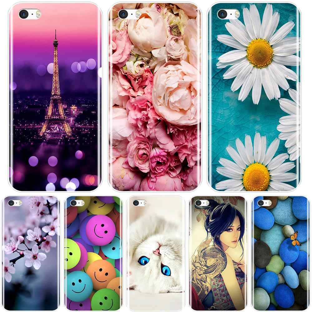 Phone Case  For iPhone SE 5S 5 S 5C Soft Silicone TPU Ultra Thin Cute Flower Floral Back Cover For iPhone 4S 4 S  Case