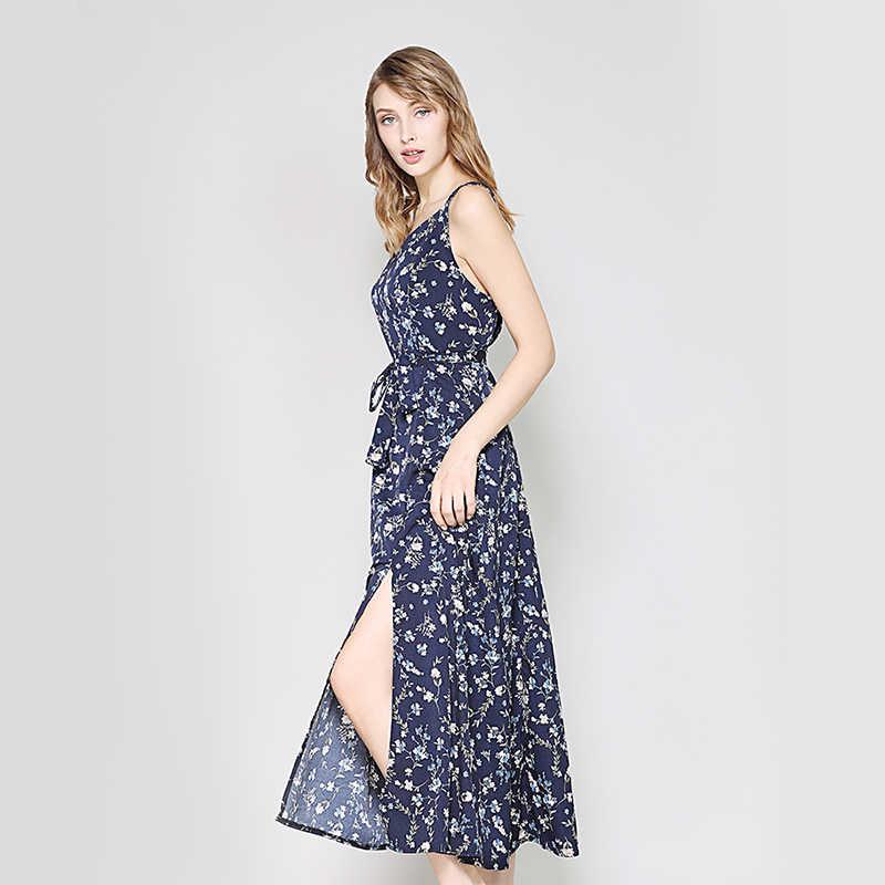 9a944656c70 ... Hanyiren Women Bohemia Elegant Printing A-Line Dress V Neck Backless  With Belt Women Sleeveless ...