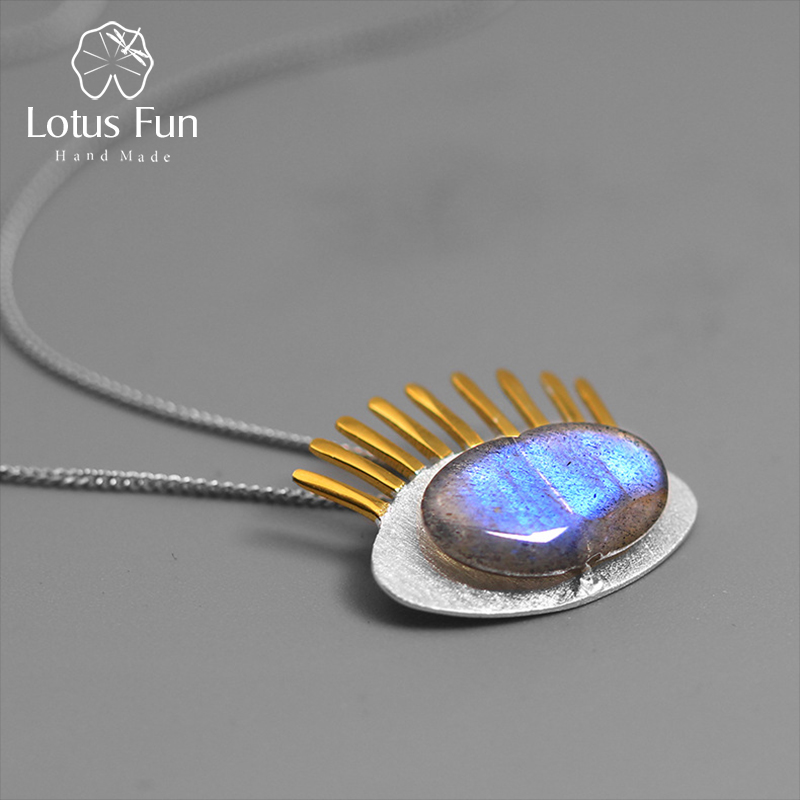 Lótus Divertido Real 925 Sterling Silver Labradorite Natural Fine Jewelry Interessante Cílios De Ouro Pingente sem Corrente para As Mulheres