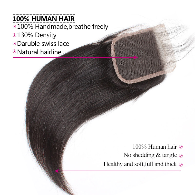Indian Straight Hair Bundles with Closure Baby Hair 4 Bundles with Closure Non Remy 100 Human Hair B