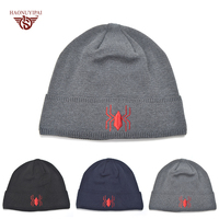 Fashion Winter Spider Embroidery Beanies Free Style Cotton Warm Knitted Hat Wool Ski Cap Knitted