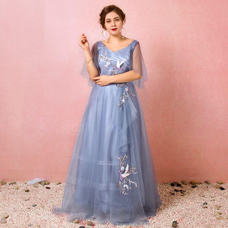 Плюс размер v образным вырезом Вышивка Кружева vestido de festa плиссированные с рюшами А силуэта строгое длинное вечернее платье с рукавом Выпуск