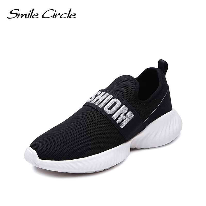 Smile Circle kniting Slip on Sneaker for women sock sneaker Fashion Lightweight Breathable Outdoor Casual Shoes women flat 2018-in Women's Vulcanize Shoes from Shoes    1
