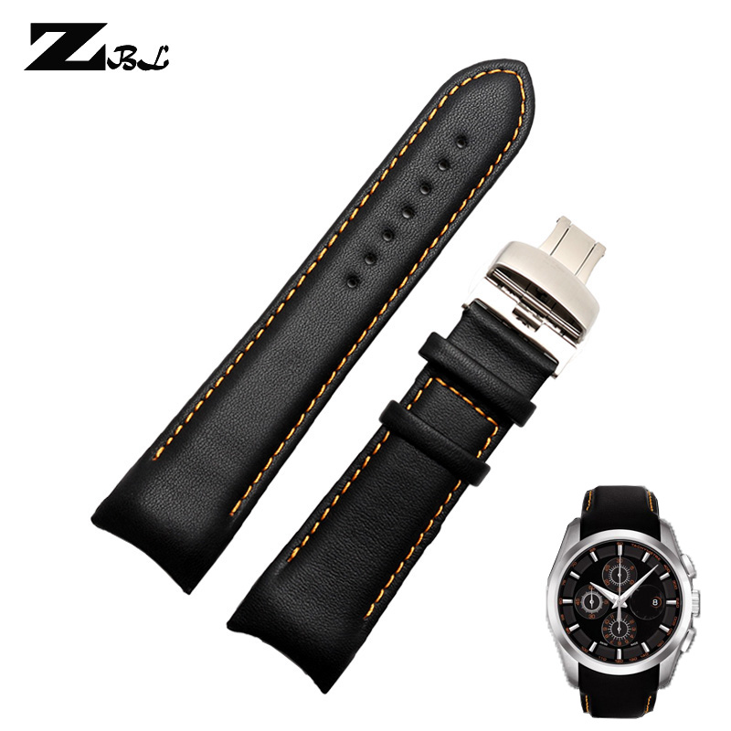 Genuine leather bracelet 22 23 24mm wristwatches band curved arc interfaces men's watchband for tissot T035 watch strap