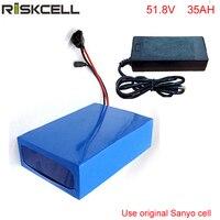 No taxes New 14S 51.8V lithium battery pack 52V 35AH Sanyo 18650 cells Lithium battery for 48V 1000W Bafang motor,UPS ,solar