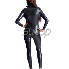 Suitop classical latex catsuits black color with front zip for women
