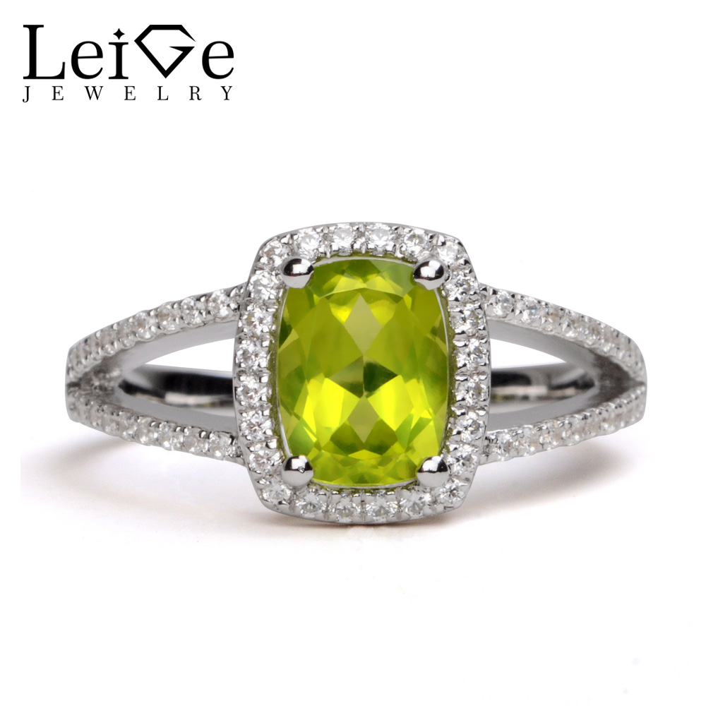 Leige Jewelry Rings Peridot Silver 925 Green Gemstone Engagement Anniversary Rings for Women Valentine Gifts Fine JewelryLeige Jewelry Rings Peridot Silver 925 Green Gemstone Engagement Anniversary Rings for Women Valentine Gifts Fine Jewelry