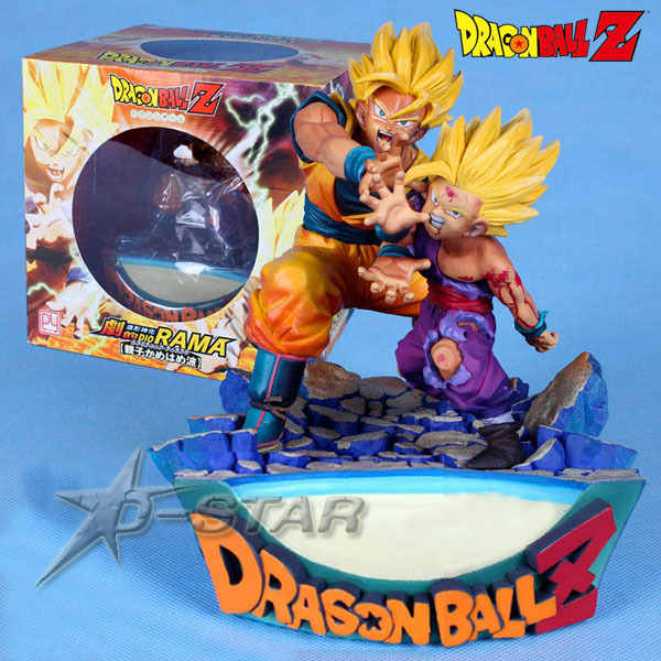 Free Shipping Cool 7 Dragon Ball Z SUPER SAIYAN GOKU + Gohan Explosive Wave Boxed PVC Action Figure Model Collection Toy Gift free shipping japanese animation cool dragonball z super saiyan trunks 23cm 9 2 pvc figure new in box