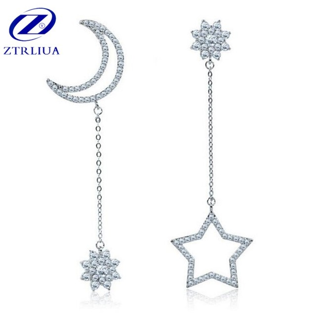925 Sterling Silver Fashion Jewelry Temperament Zircon Asymmetric Moon And Star Crystal Female Anti-allergic Earrings  SE217