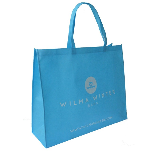 Light Blue Color Customized Non Woven Ping Bag Print Recycling Fabric Eco