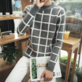 2016 autumn and winter small fresh men plaid loose semi-high neck thicken sweater warm coat Slim Fit Pullover Men