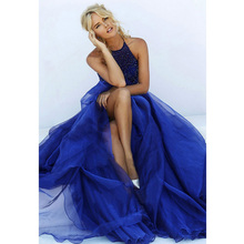 Longo Azul Royal Vestidos de Baile Sexy Plus Size Do Vintage de Luxo Beading Halter Neck Pavimento Length Evening Formal Vestidos robe de sarau(China (Mainland))