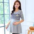 Primavera Maternidade vestidos das mulheres grávidas vestido listrado costura de manga comprida pode lactação alimentação saia