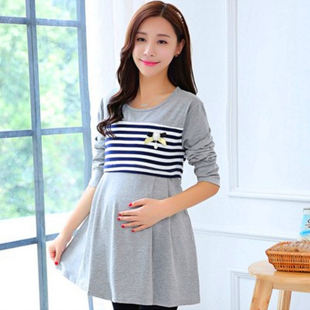e7dbf6fbb3930 Spring Maternity dress striped stitching long sleeved dresses pregnant  women can lactation feeding skirt-in Dresses from Mother & Kids