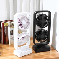 Portable USB Electric Double Tower Fan Double Vane Usb Fan Energy Saving Mini Size With Double Blades