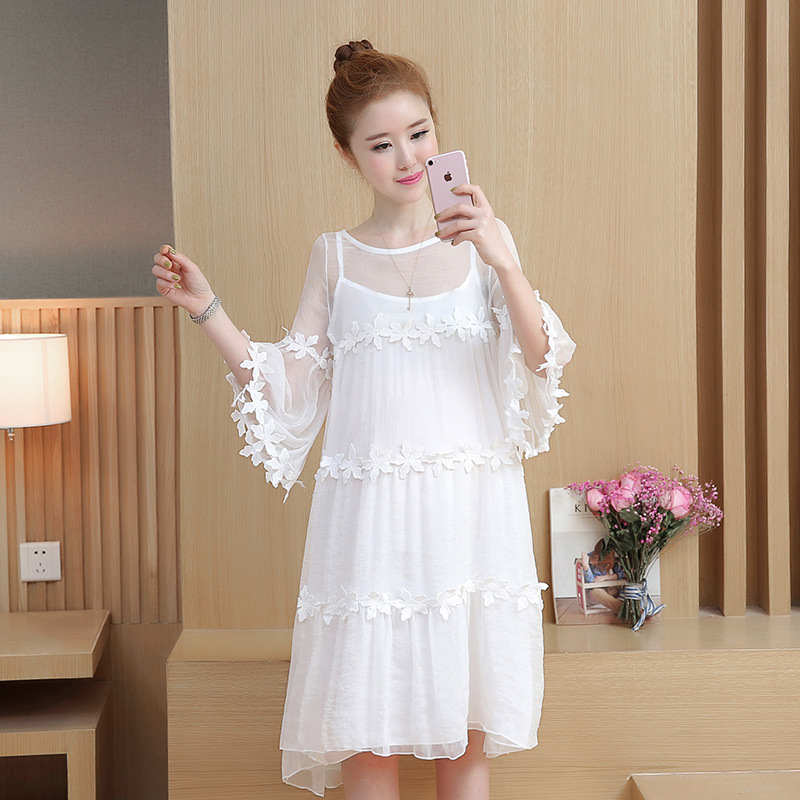 b1ec3428dff28 Maternity summer dresses 2018 new fashion tide mother loose lace strap two  pieces sets pregnant women dress pregnancy clothes
