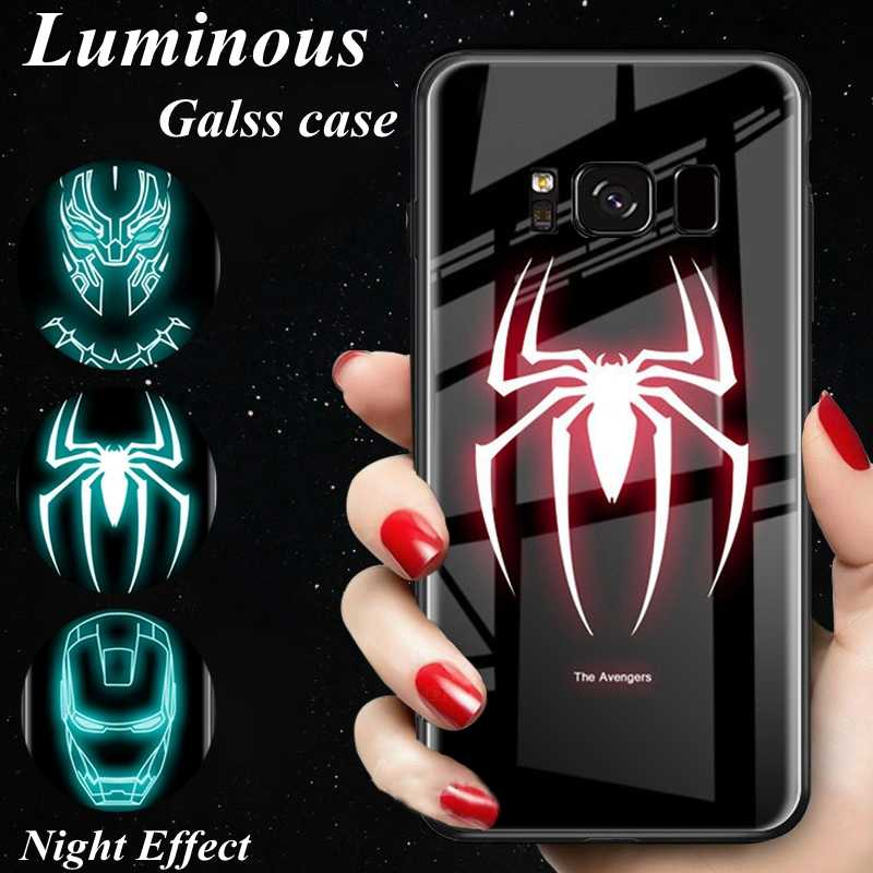 Luminous Spiderman Temper Glass Phone Case For Samsung galaxy s8 s9 s10 plus Note 8 9 Marvel Avengers Superman logo Cover Light