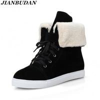 Jianbudanブランド靴高品質冬の毛皮のブーツつや消し表面暖かい女性の雪のブーツフラットアンチスキッド綿靴34-42