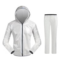 Ultralight outdoor waterproof hooded raincoat outdoor riding split raincoat set white M