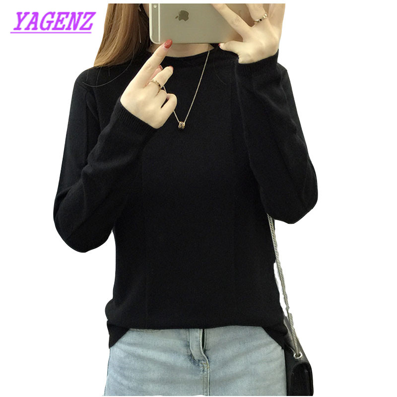 Knitted Sweater Shirt Warm Pullover Loose Korean Winter Women Autumn NEW Young B211 Semi-High-Collar