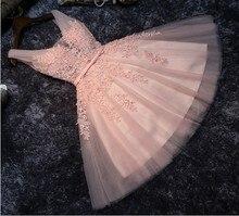 Vestido corto de encaje con cuello en V, para dama de honor, barato, Azul Marino/melocotón/Marfil/champán/plata/Hunter