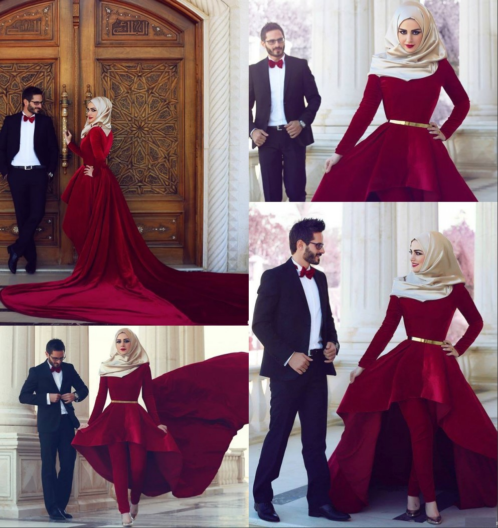 2015 new islamic style elegant red wedding dress high for Wedding dress arabic style