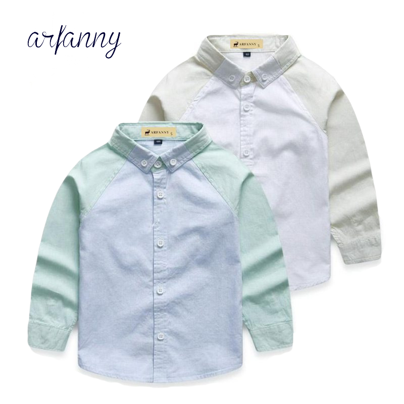 Boy Shirts for Children Gentleman quality spring Boys fight color cotton long-sleeved shirt.2 3 4 5 6 7 year Children clothing summer autumn boys clothing sets kids boys shirts vest long pant tie children cotton fore pieces clothing sets for 2 3 4 5 6 7 y