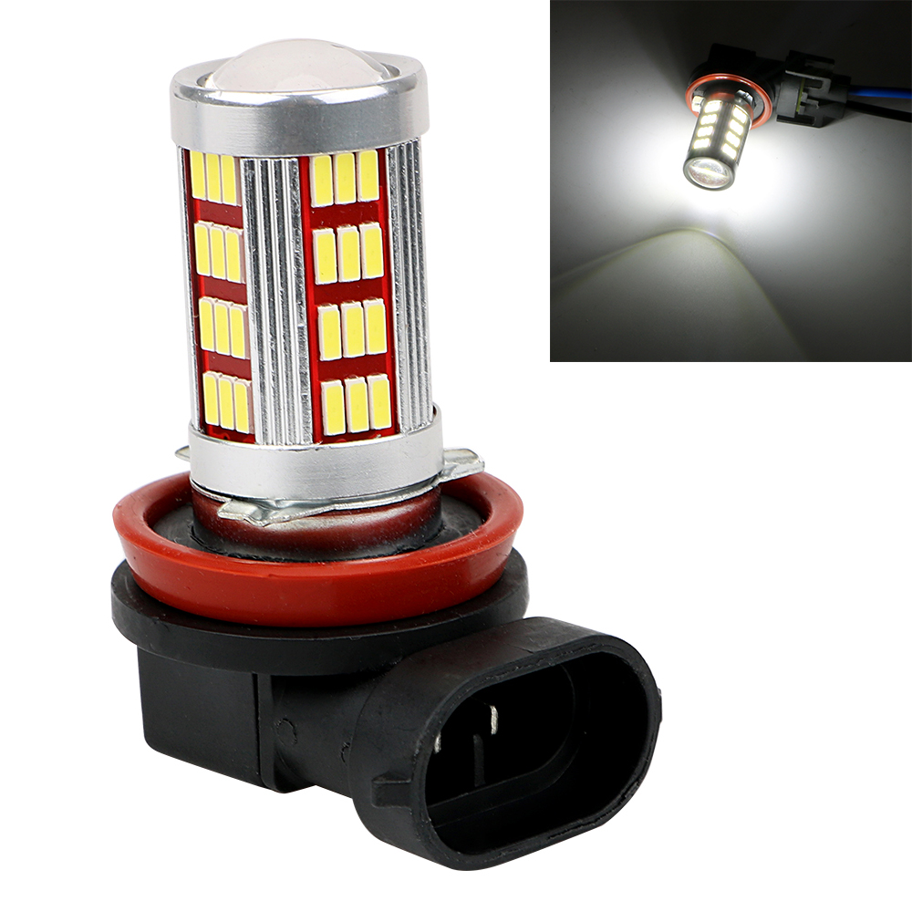 ITimo 1 Pair DC12V Universal Fog Lights H8 H9 White Car LED Bulb Car-styling Headlight Lens H11 4014 66SMD