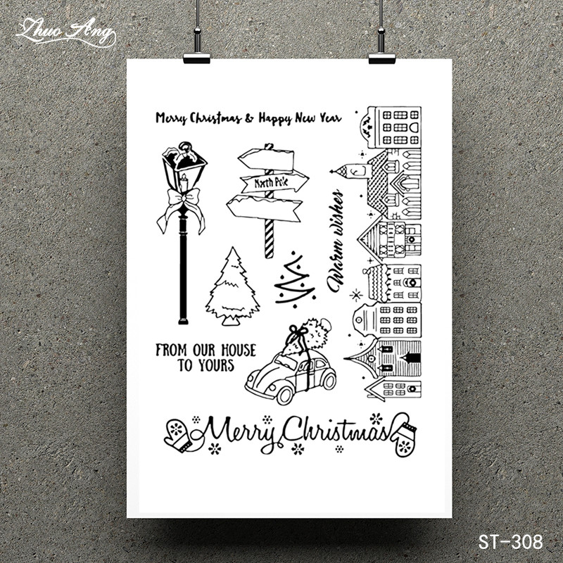 ZhuoAng Christmas blessing Transparent Clear Stamp for Scrapbooking Rubber Stamp Seal Paper Craft Clear Stamps Card Making in Stamps from Home Garden