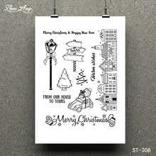 ZhuoAng Christmas blessing Transparent Clear Stamp for Scrapbooking Rubber Seal Paper Craft Stamps Card Making