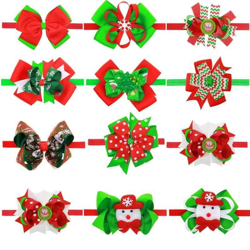 Рождественская повязка на голову для малышей банты девочки дети Младенцы волос