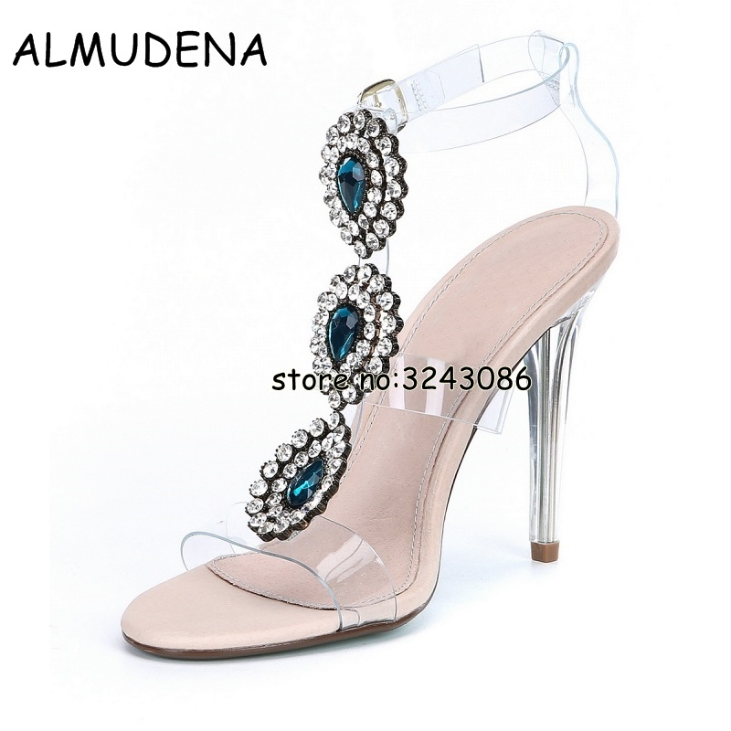 Hot Sale Rhinestone Clear PVC Transparent Women Sandals Shoes Crystal Ankle Wrap Lady High Heels Shoes Suede Sexy Dance Shoes hot sale pvc transparent sandals for women ankle strap crystal clear chunky heels sandalias mujer women shoes plus big size