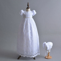 2019 High Quality Custom Outfit Ivory White 1 Year Birthday Girl Baptism Gowns Baby Girl Lace Dress Extra Long Christening Dress