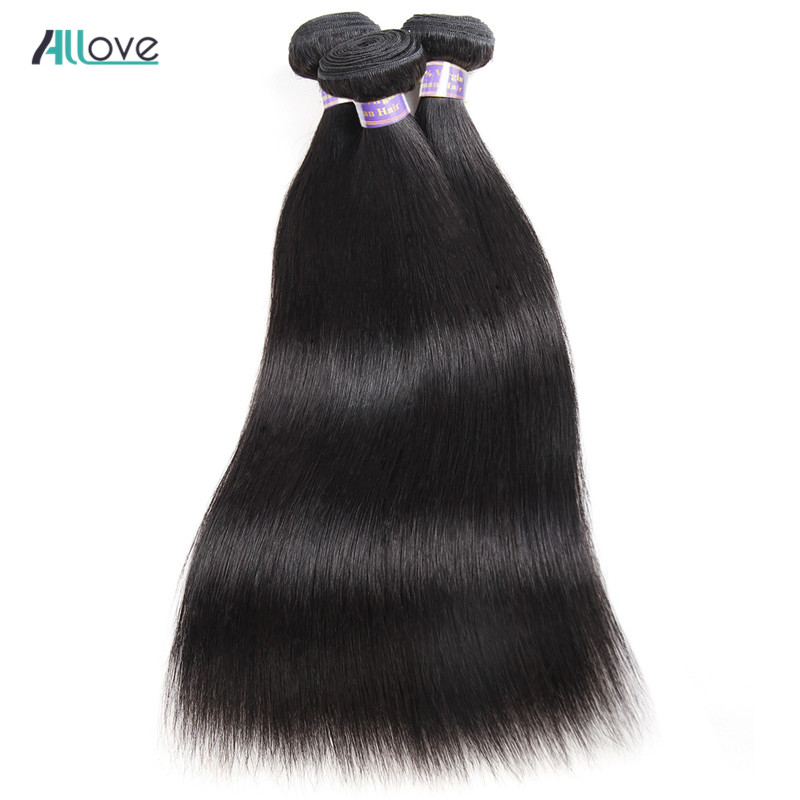 Allove Indian Straight Hair Weave Bundles 100% Human Hair Bundles 8-28 Inch Natural Colo ...