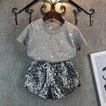 Traje de verão 2016 Moda Bebê Menina Crianças Definir Meninas Roupas Stripe T-Shirt + Calça Curta Terno Do Bebê Roupas de Menina