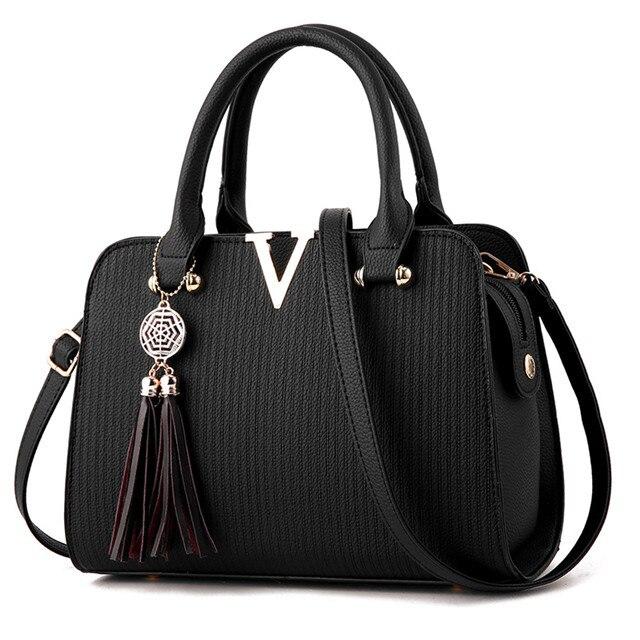 V Women Leather Handbag...