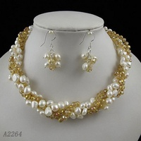Wedding Pearl Jewelry Set Four Row AA 5 8MM Gold Champagne Crystal Natural Necklace Earrings Rhinestone