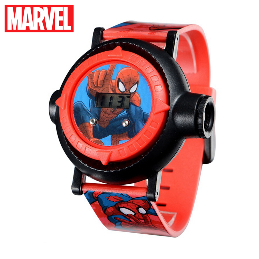 Genuine MARVEL Spider Man Projection LED Digital Watches Children Cool Cartoon Watch Kid Birthday Gift Disney Boy Girl Clock Toy super bowl ring 2019